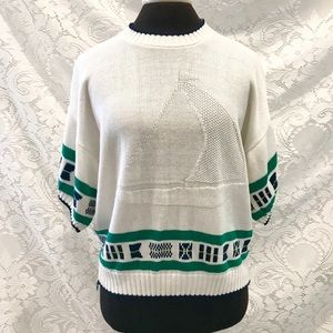 Vintage Sailboat Short Sleeve Sweater